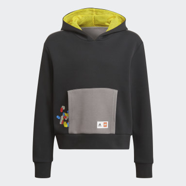 Youth Training Black adidas x Classic LEGO® Bricks Cropped Boxy Hoodie