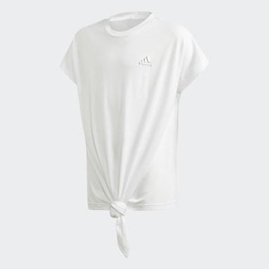 Youth 8-16 Years Gym & Training White Dance T-Shirt