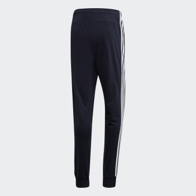 Men Essentials Blue Essentials 3-Stripes Tapered Tricot Pants