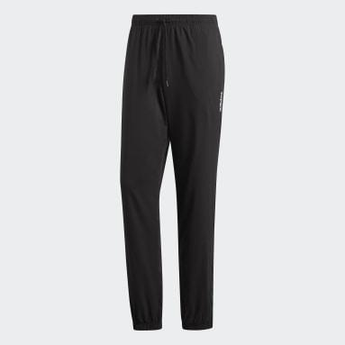Men Gym & Training Black Essentials Plain Stanford Trousers