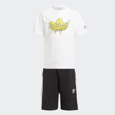 Kids Originals White Graphic Trefoil Shorts Tee Set