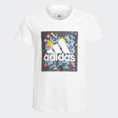 เด็กผู้หญิง ไลฟ์สไตล์ สีขาว เสื้อยืดพิมพ์ลาย adidas x LEGO® DOTS™