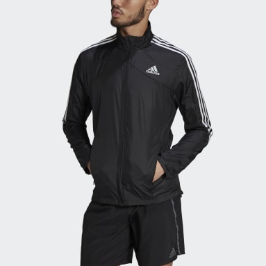 Men Running Black Marathon 3-Stripes Jacket