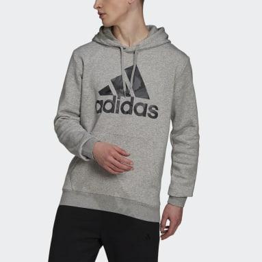 Men's Essentials Grey Essentials Fleece Camo-Print Hoodie