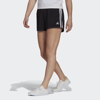 Women Sport Inspired Black Essentials Relaxed Woven 3-Stripes Shorts