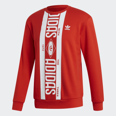 Men Originals Red Printed Scarf Crewneck Sweatshirt