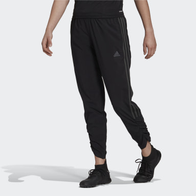 Women Football Black Tiro Woven Ruched Pants