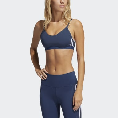 Women Cricket Blue All Me 3-Stripes Sports Bra