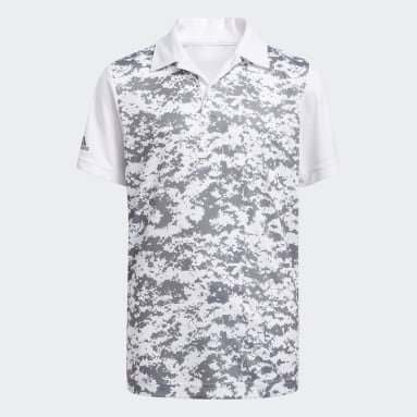 Boys Golf White Digital Camouflage Polo Shirt