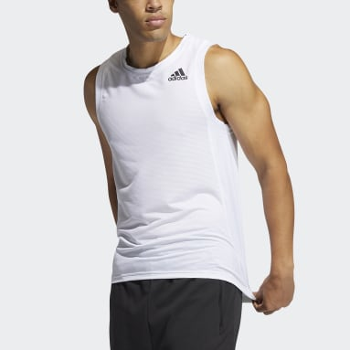 Men Training White AEROREADY 3-Stripes Primeblue Tank Top