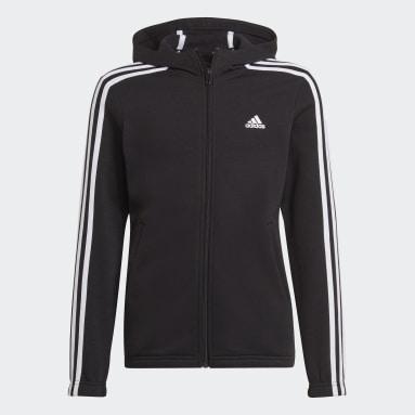adidas Essentials 3-Stripes Full-Zip Hoodie Czerń