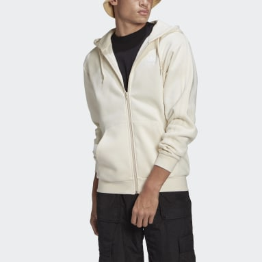 Men Originals White Adicolor 3-Stripes Full-Zip No-Dye Hooded Track Jacket