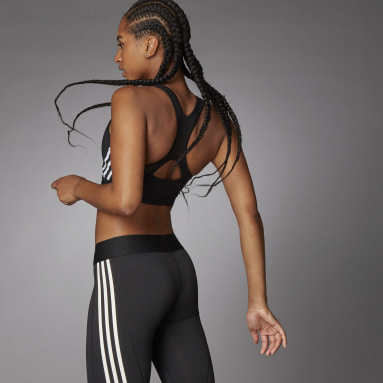 Women's Running Black Believe This 3-Stripes Medium Support Rib Bra