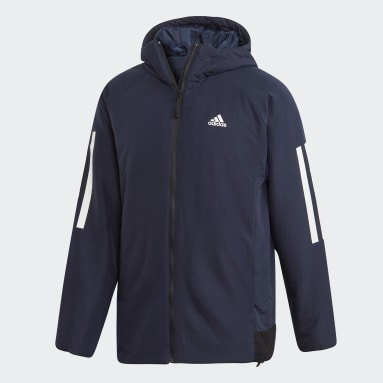Heren City Outdoor Blauw Back-to-Sports 3-Stripes Hooded Insulated Jack