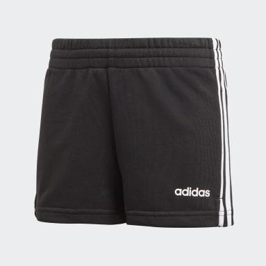Girls Yoga Black Essentials 3-Stripes Shorts