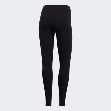 Calzas Essentials Linear - Tiro Bajo Negro Mujer Running