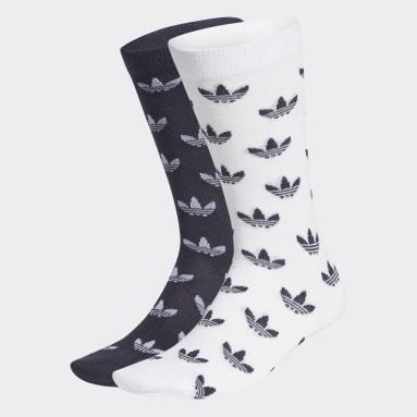 Originals Blå Trefoil Allover Print Thin Crew sokker, 2 par