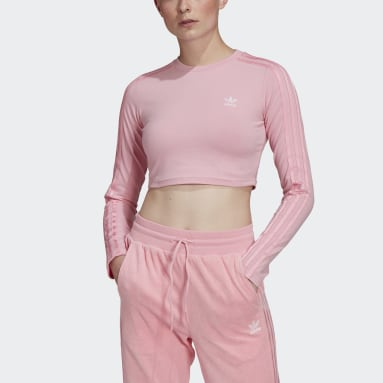 Women Originals Pink LOUNGEWEAR Cropped Long Sleeve Tee