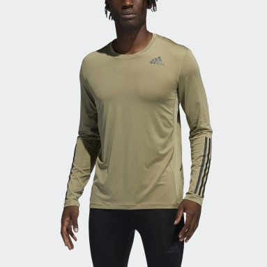 Men Gym & Training Green Techfit 3-Stripes Fitted Long-Sleeve Top Long-Sleeve Top