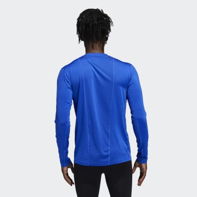 Men Training Blue Techfit Fitted Long Sleeve Tee