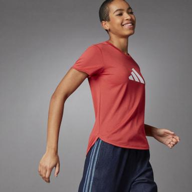 Women Running Red 3 Bar Logo T-Shirt