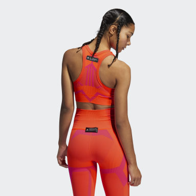 Women Yoga Orange Studio Two-Tone Bra