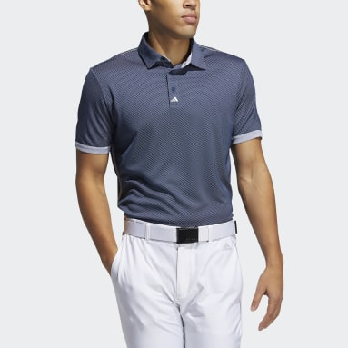 Men Golf Blue Equipment Two-Tone Mesh Polo Shirt