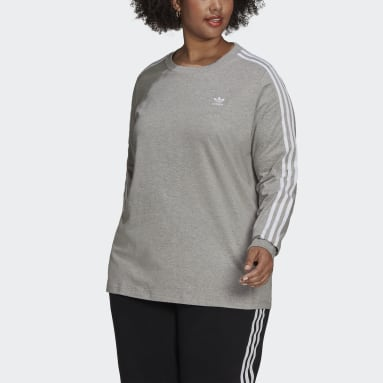 Women's Originals Grey Adicolor Classics Long Sleeve Tee (Plus Size)