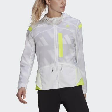 Women Running White Marathon Translucent Jacket