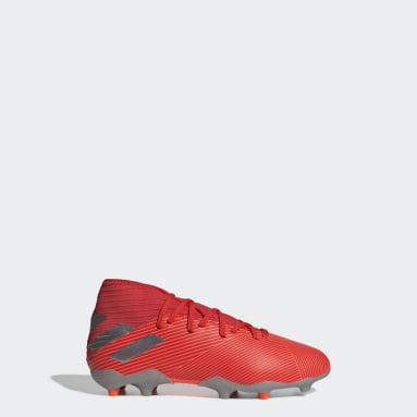 Calzado de Fútbol Nemeziz 19.3 Terreno Firme (UNISEX) Rojo Niño Fútbol
