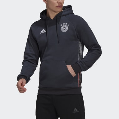 Men Football Grey FC Bayern Travel Hoodie