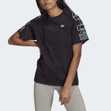 ผู้หญิง Originals สีดำ เสื้อยืดทรงหลวม adidas Letter