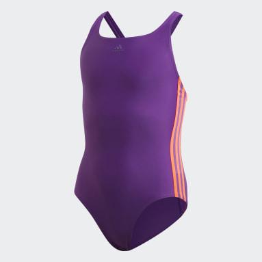Mädchen Schwimmen Athly V 3-Streifen Badeanzug Lila