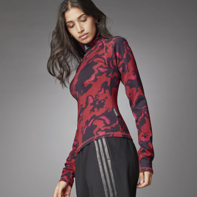Women's Sportswear Red Turtleneck Long Sleeve Top