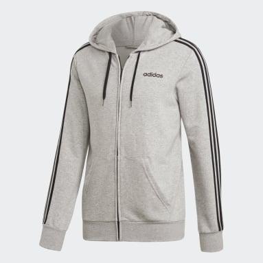 Men Training Grey Essentials 3-Stripes Track Jacket