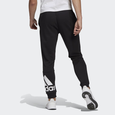Men Sport Inspired Black Essentials French Terry Tapered Cuff Logo Pants