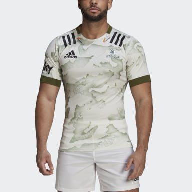 Men Rugby White Highlanders Rugby Primeblue Alternate Replica Jersey