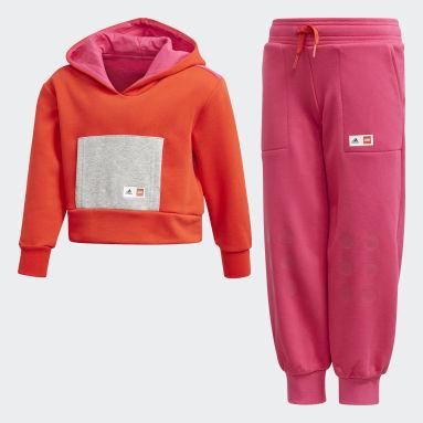 เด็กผู้หญิง เทรนนิง สีแดง ชุดเสื้อและกางเกง adidas x Classic LEGO®