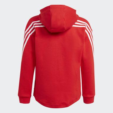Girls Gym & Training Red 3-Stripes Full-Zip Hoodie