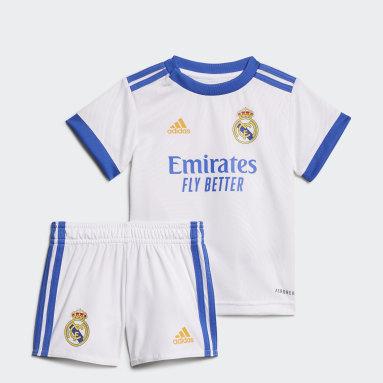 Kit Principal 21/ 22 do Real Madrid para Bebé Branco Criança Futebol