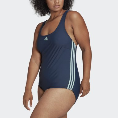 Women Swimming Blue Classic 3-Stripes Swimsuit