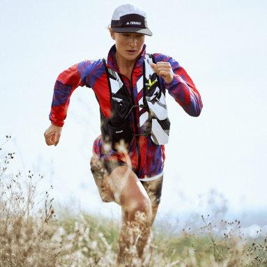 Ženy TERREX červená Vetrovka Terrex Parley Agravic Trail Running WIND.RDY