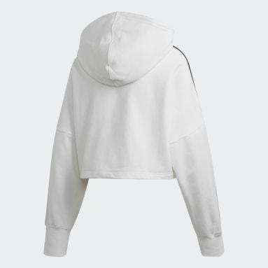 Women Originals White Cropped Hoodie