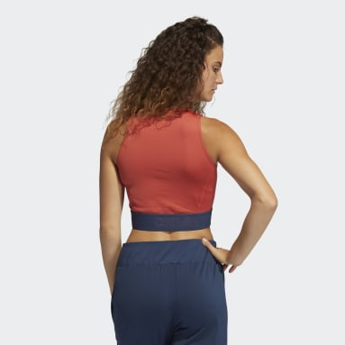 Canotta Techfit Crop Rosso Donna Fitness & Training