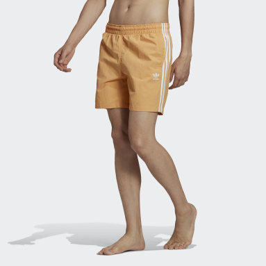 Men Originals Orange Adicolor Classics 3-Stripes Swim Shorts