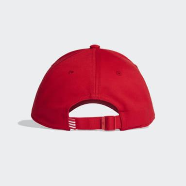 Volleyball Baseball 3-Streifen Twill Kappe Rot