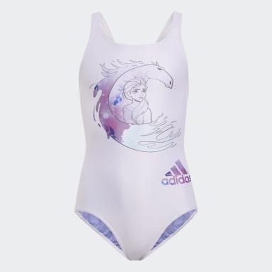 Girls Swimming Purple Frozen 2 Swimsuit