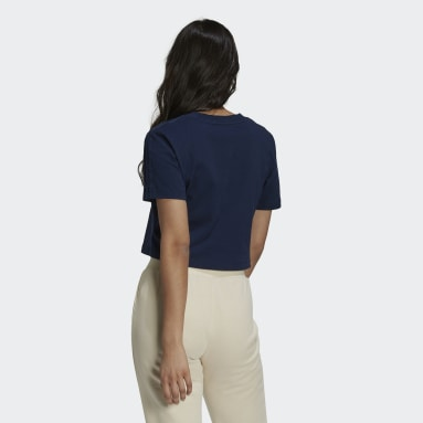Dames Originals Blauw Tennis Luxe Cropped T-shirt