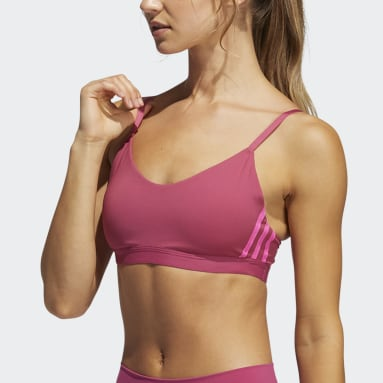 Women Yoga Pink All Me 3-Stripes Bra