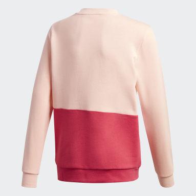 Kids Originals Pink Large Trefoil Crew Sweatshirt